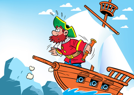 The illustration shows cartoon the captain on the ship, which crashed into the reef. Vector