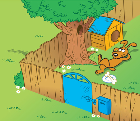 The illustration shows the part of housewifely yard with a kennel and a guard dog. Vector