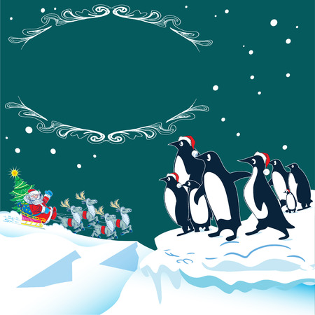 The illustration shows how the penguins in the north meet Santa Claus on Christmas Eve.  Vector