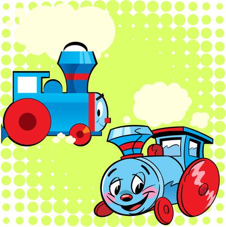 carritos de juguete: ilustración de dos modelos de la locomotora