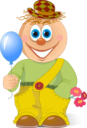 isolation: The illustration shows a funny cartoon clown with a balloon in hand and flowers. Illustration done in isolation on a white background. Illustration