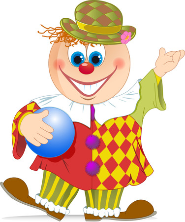 isolation: The illustration shows a funny cartoon clown with a ball in hand. Illustration done in isolation on a white background.