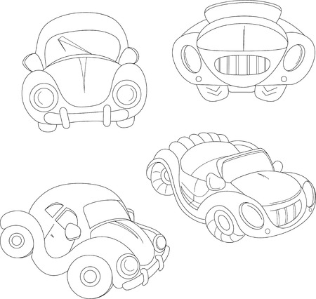 foreshortening: The illustration shows a group of several cartoon cars. Illustration made in the contour  style, isolated on white background, on separate layers. Illustration