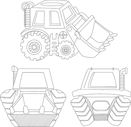 foreshortening: The illustration shows cartoon excavator in different perspectives. Illustration made in the contour  style, isolated on white background, on separate layers.