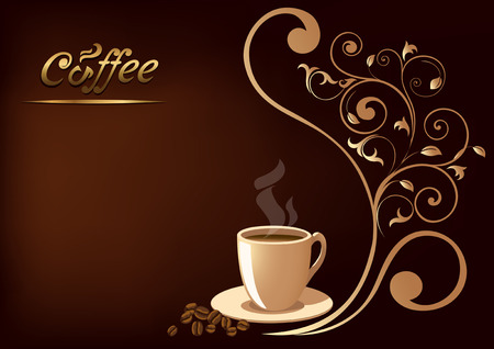 steaming: The illustration shows a cup of coffee on a brown background with decorative floral design. There is a place for the text block. Illustration can be used as a background, wallpaper, form menu.