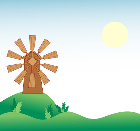 abstract mill: The illustration shows the natural landscape with a windmill.
