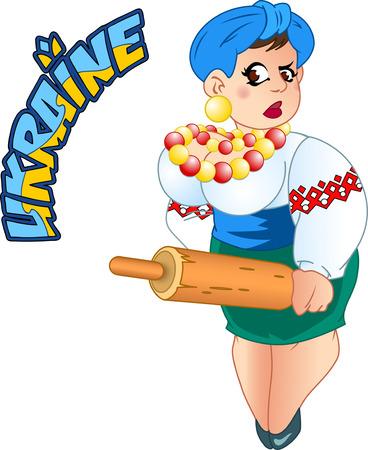 De afbeelding toont een Oekraïense vrouw in de nationale kleren. Geïsoleerd op een witte achtergrond