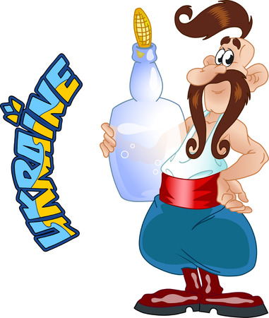 moonshine: The illustration shows the Ukrainian Cossack with a bottle of moonshine. Isolated on a white background in cartoon style.