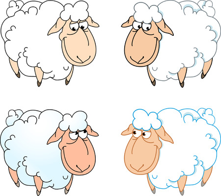 bleating: The illustration shows a few funny cartoon sheep isolated on a white background, on separate layers. Illustration