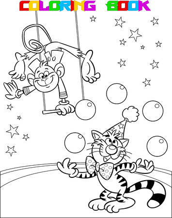 The illustration shows a monkey in a circus, which performs acrobatic on the swings. In the arena of ginger cat shows the number with balls. Illustration made a black outline for coloring, on separate layers. Illusztráció