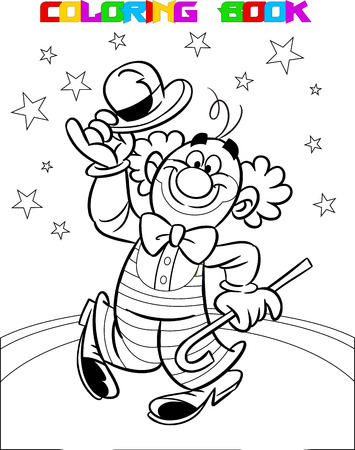 black wigs: Funny clown performs at the circus arena. Illustration made a black outline for coloring, on separate layers.