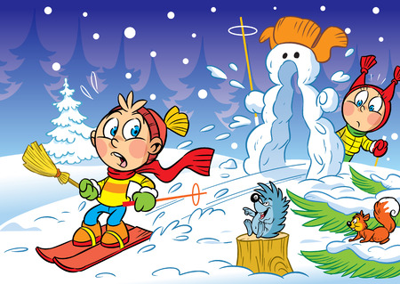 The illustration shows children skiing down the hills in the winter and snowman. Illustration done in cartoon style. Stock Illustratie