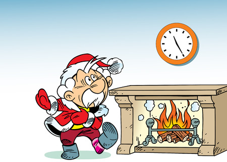 watch new year: Santa Claus hastily dressed in a room near the fireplace. Illustration done on separate layers. Illustration
