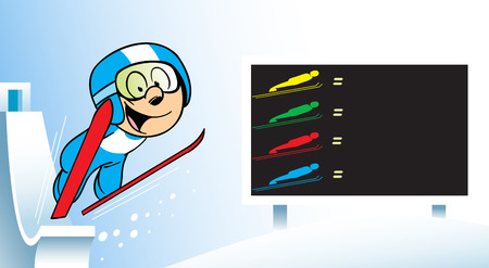 springboard: The illustration shows an athlete skier, who jumps from a springboard. Illustration done in cartoon style, on separate layers.