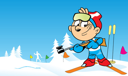 The illustration shows the sports biathlon in cartoon style. Illustration done on separate layers. Çizim