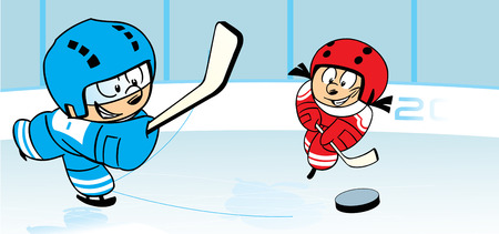 The illustration shows children, who play hockey on ice stadium. Illustration done in cartoon style, on separate layers.