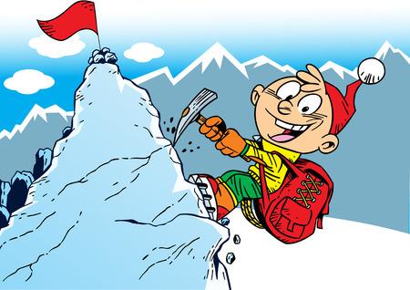 niño trepando: La ilustración muestra el escalador que sube a la cima de la montaña. Ilustración realizada en estilo de dibujos animados, en capas separadas.