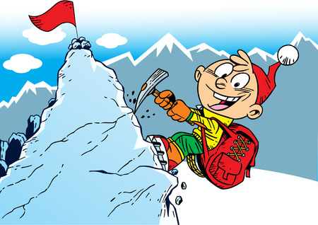 ice climbing: The illustration shows the climber who rises to the top of the mountain. Illustration done in cartoon style, on separate layers.