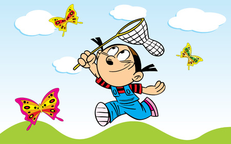 butterfly net: The illustration shows a girl who catches a butterfly net butterflies on a green meadow. Illustration done in cartoon style, on separate layers.