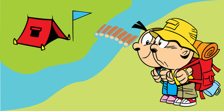 The illustration shows a couple of young tourists near the camp. Illustration done in cartoon style, on separate layers. Vector