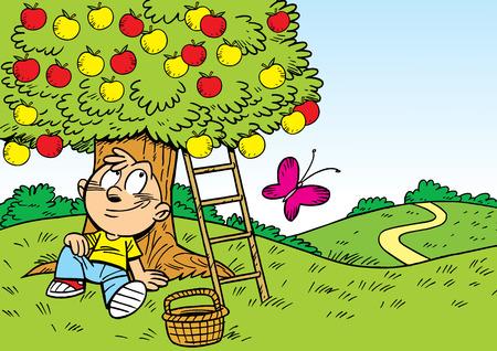 manzana caricatura: La ilustraci�n muestra a un ni�o que est� descansando en el jard�n bajo el manzano. Ilustraci�n realizada en estilo de dibujos animados, en capas separadas.