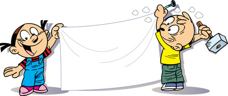 adolescence: The illustration shows a boy and girl  with banner in hand. Illustration done in cartoon style, on separate layers, there is block for text. Illustration