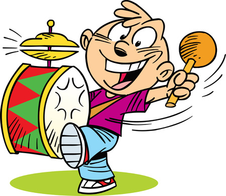 following: The following illustration shows cartoon boy  who play on drum. Illustration
