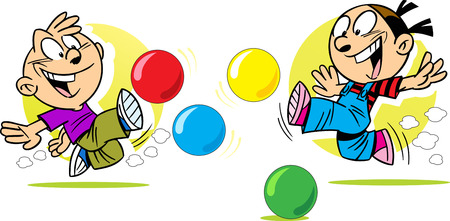 actively: The illustration shows a boy and girl in joyful emotions, which are actively playing with colored balls. Illustration done in cartoon style, on separate layers. Illustration