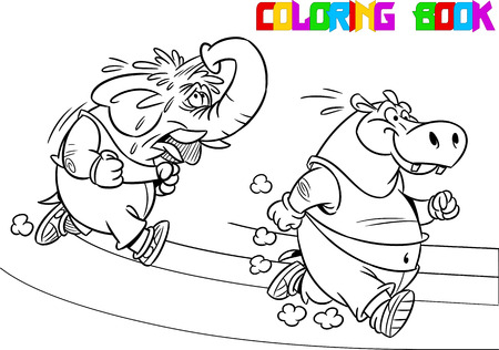 enemies: The illustration shows some elephant and hippopotamus who compete, who faster runs. Illustration done in black and white outline for coloring book, in cartoon style, on separate layers
