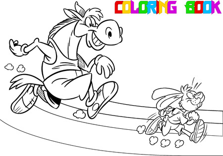 The illustration shows  horse and hare who compete, who faster runs. Illustration done in black and white outline for coloring book, in cartoon style, on separate layers