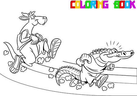 activism: La ilustraci�n muestra cocodrilo y canguro que compiten, que corre m�s r�pido. Ilustraci�n realizada en el esquema blanco y negro para colorear el libro, en el estilo de dibujos animados, en capas separadas Vectores
