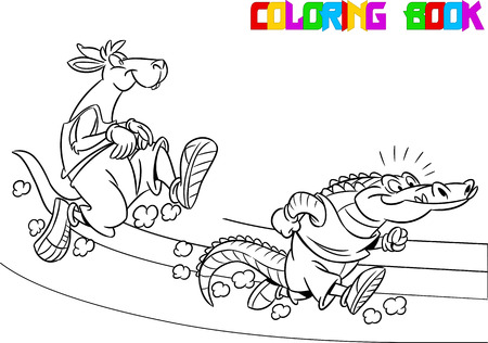enemies: The illustration shows  crocodile and kangaroo who compete, who faster runs. Illustration done in black and white outline for coloring book, in cartoon style, on separate layers