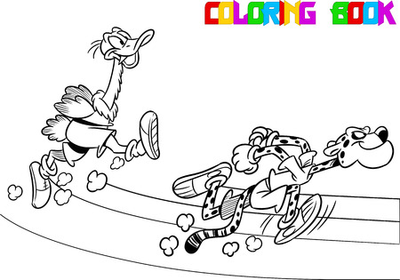 rival: The illustration shows  ostrich and  cheetah who compete, who faster runs. Illustration done in black and white outline for coloring book, in cartoon style, on separate layers Illustration