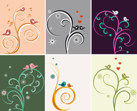 trill: The illustration shows a beautiful vector backgrounds with floral patterns and birds. Illustration done on separate layers. Illustration