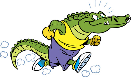 The illustration shows the crocodile, which deals sports running.  Ilustrace