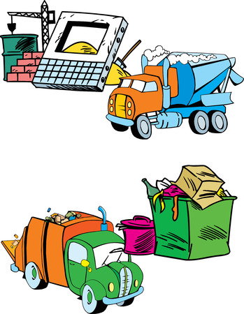 garbage truck: The illustration shows several modes of transport, namely garbage truck and construction equipment.