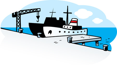 pier: The illustration shows the ship and cargo crane on the pier.