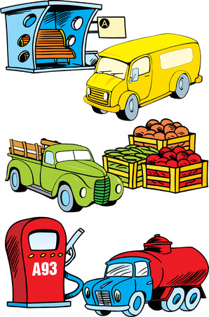 bus station: The illustration shows several modes of transport, namely, bus, truck and construction machinery.