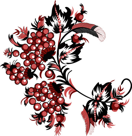 The illustration shows a decorative background with a branch of rowan-style red and black outline. Illustration can be used in the form of postcards, carried out on separate layers, isolated on a white background.
