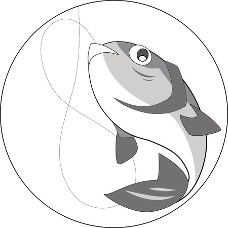 isolation: The illustration shows a large fish, caught on a fishing trip. Illustration done in isolation on a white background. Illustration