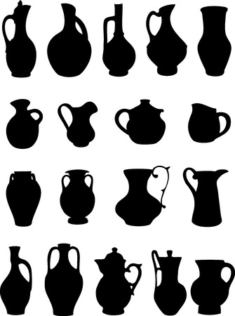 The illustration shows a group of ancient and modern pitchers of different shapes. Illustration done on separate layers, as a silhouette, isolated on white background. Vector