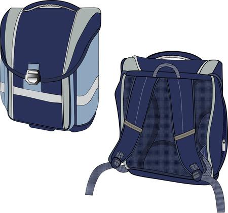 school bag: The illustration shows a model school backpack dark blue in different positions. Illustration