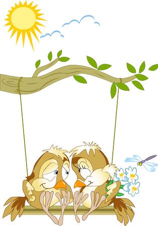 lovebirds: The illustration shows a pair of lovebirds birds sitting on a swing. Illustration done as a funny card, in cartoon style, on separate layers.