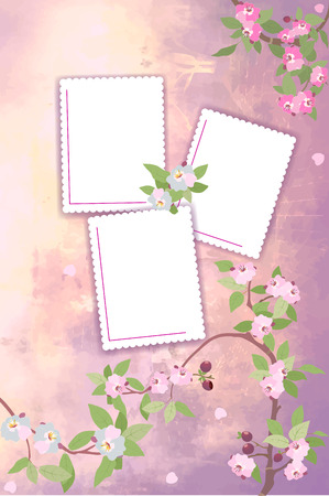 vernal: The illustration shows vernal background for album photos with templates of blank forms and branches of cherry blossoms. Illustration made in pink and green colors, on separate layers.