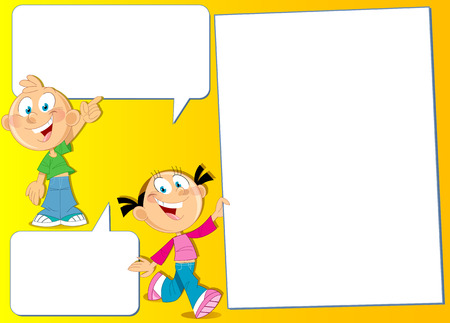 The illustration shows a boy and girl  with banners in hand. Illustration done in cartoon style, on separate layers, there is block for text.