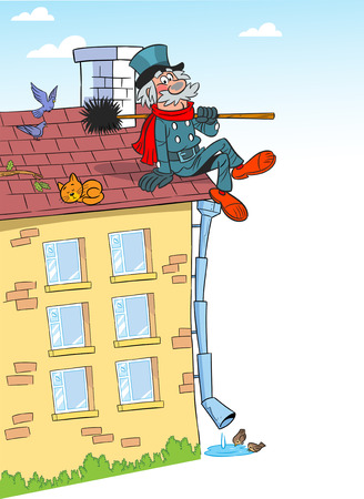 The illustration shows a chimney sweep, who sits on the roof of the house. Illustration done in cartoon style, on a white background. Vector