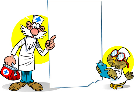 male animal: The illustration shows a cartoon doctor with a medical kit and an owl as a nurse at the background empty the poster. Illustration on separate layers, there is space for text.