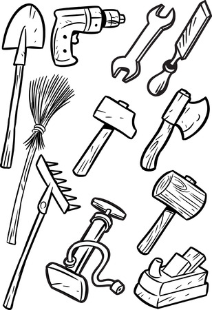 electric broom: The illustration shows some types of construction tools. Illustration made black outline isolated on white background, on separate layers.