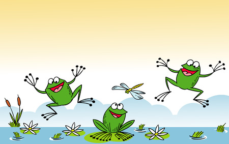 anuran: The illustration shows of some cartoon frogs  in various poses, as well as insects and water lilies. Funny frog on background aquatic, illustration on separate layers.