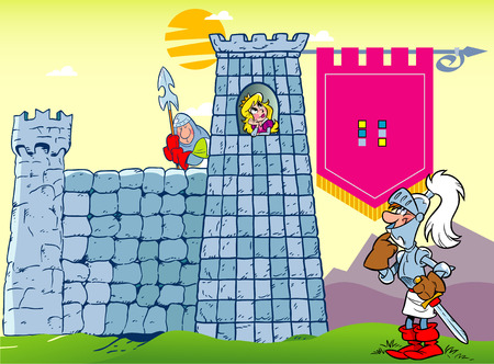 guard house: The illustration shows a cartoon knight in armor near the medieval castle, which houses a lovely princess. Illustration